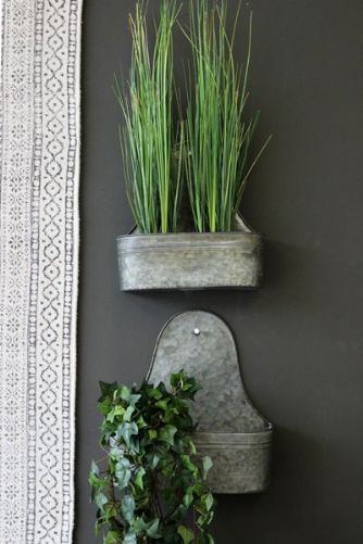 Zinc Wall Planters - Large Set of Two