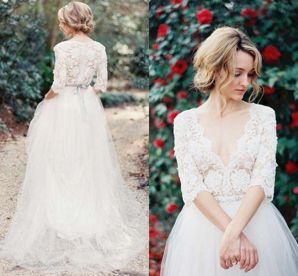 Vintage Lace Bohemia Wedding Dresses V Neck Half Long Sleeve Wedding Gowns A Line Sheer Summer Beach Wedding Gown A Line Long Bridal Gown Black Wedding Dresses [ 950 x 1024 Pixel ]