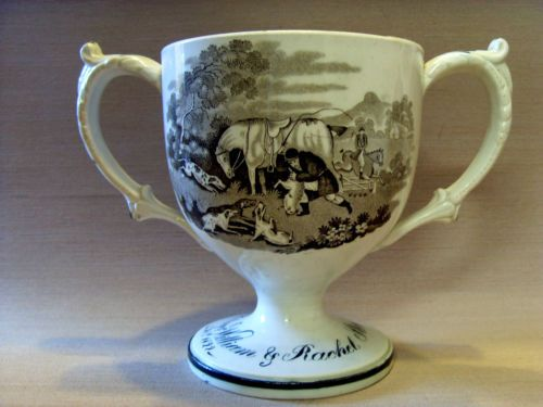 EARLY-19thC-ENGLISH-TRANSFER-PRINTED-DOUBLE-HANDLED-PORCELAIN-LOVING-CUP-1822
