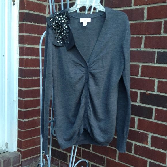 Glam, grey LOFT sweater. PERFECT for Fall and Winter. Gathered in the middle. So cute. Perfect condition - Only worn it twice. Perfect piece to add a little something to your holiday outfit. LOFT Sweaters