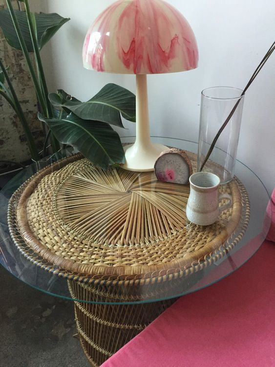 Vintage Wicker Side Table With Glass Top U2014