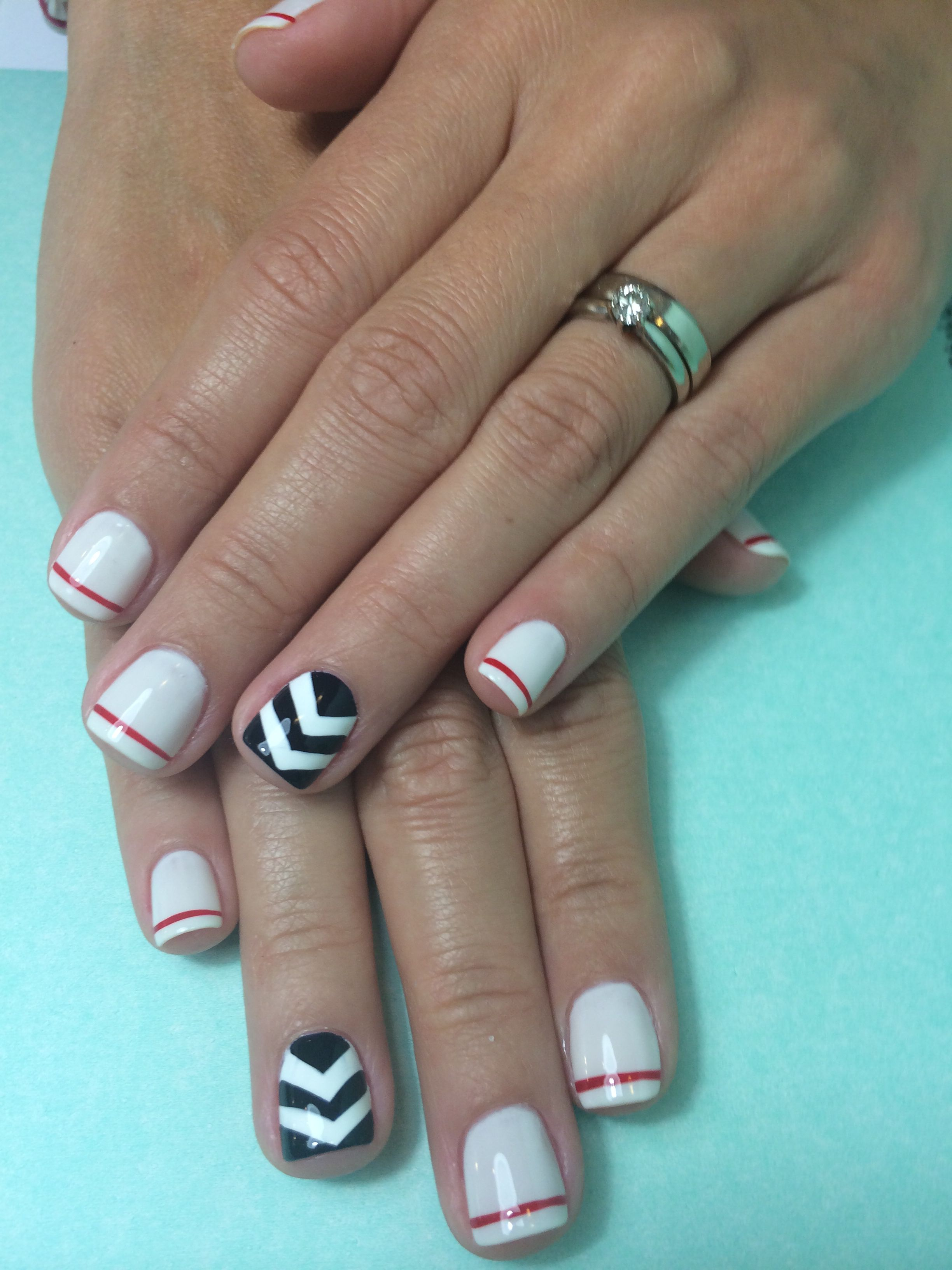About baby boomer nail art tutorial by nded on pinterest nail art - Simple Nail Art For Short Nails Dark Blue And Red Lines