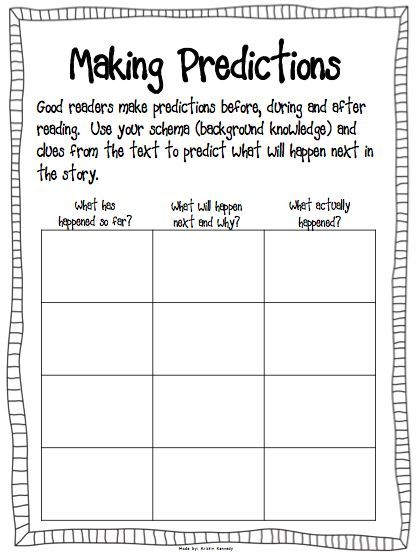 Prediction Worksheet Use With The Book The Wednesday Surprise