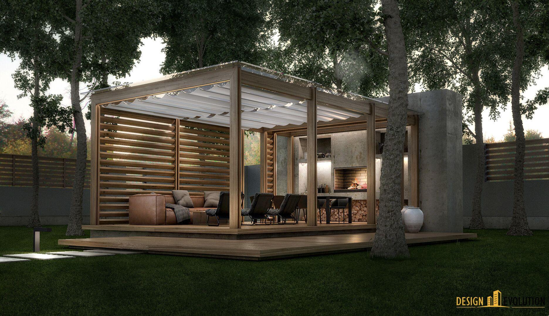pergola marquise avec sol en bois massif brise soleil en bois
