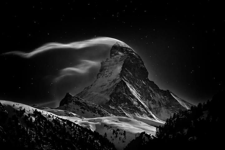 The Matterhorn: Night Clouds #2  The Matterhorn, 4478 m at full moon - Photo and caption by Nenad Saljic, National Geographic Photo Contest