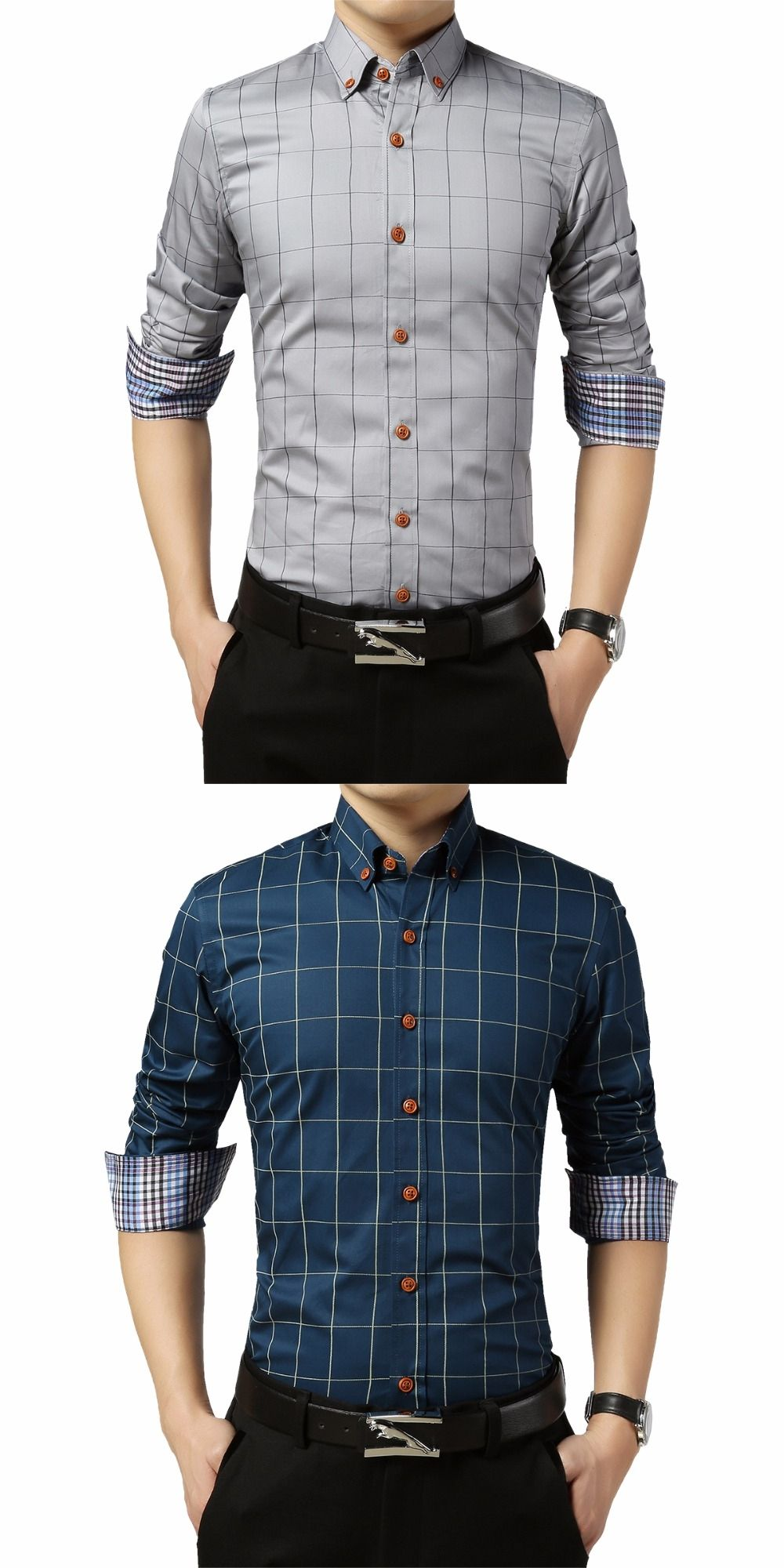 88c333ea26b TFETTERS Brand Big Sale Men Plaid Shirt Long Sleeve Dress Shirt Turn Down  Collar Social Shirt