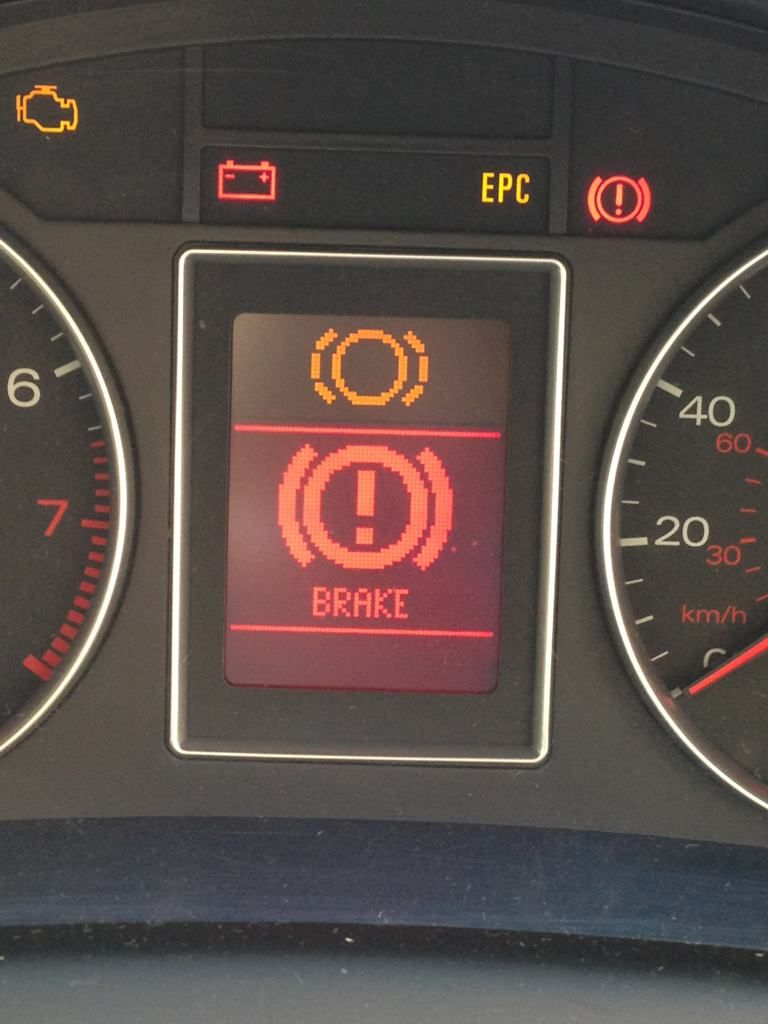 Brake Pad Sensor Warning Light - Brake pad wear indicator telling you that you need new pads.