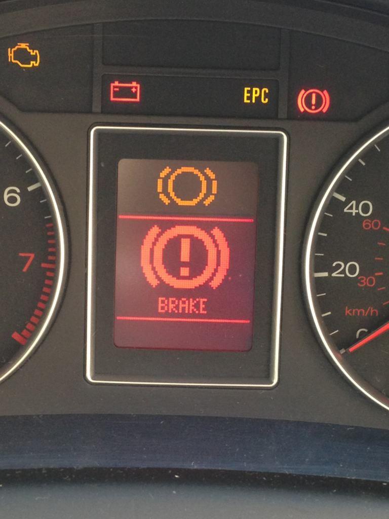 Brake Pad Sensor Warning Light - Brake pad wear indicator telling you that you need new pads.