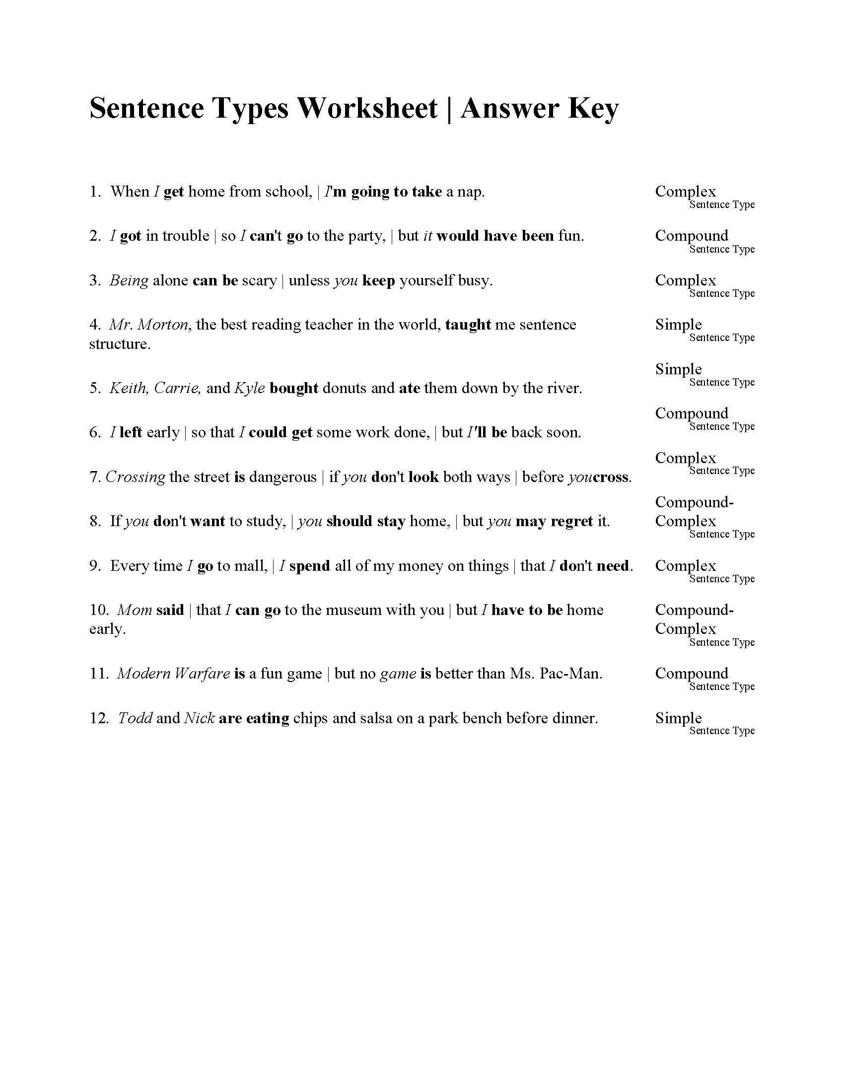 Free Printable Sentence Structure Worksheets Sentences