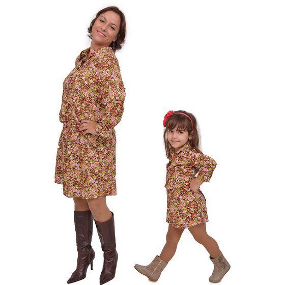 Kit Vestidos Dolceduo Mãe e Filha Chemise Marrom Estampado