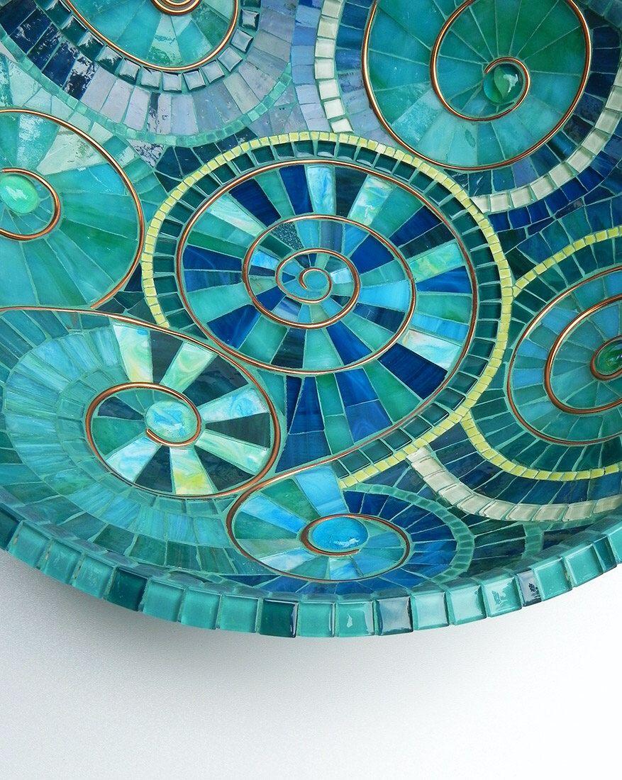 Mosaic art turquoise mosaic bowl dish accented with copper spiral mosaic art turquoise mosaic bowl dish accented with copper spiral motif table ceramic mosaic tileglass dailygadgetfo Gallery
