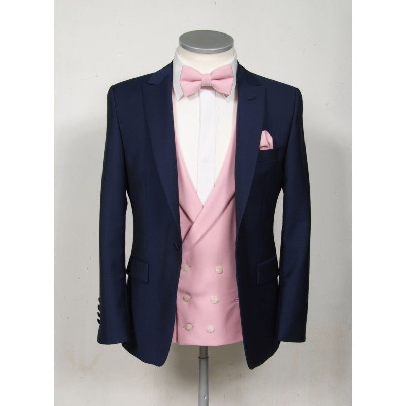 Slim fit royal blue / navy grooms wedding lounge suit with pink double breasted waistcoat and bow tie