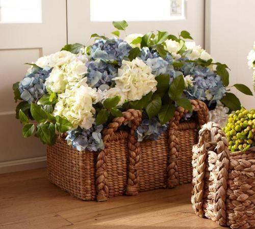 Hydrangeas In Woven Basket Arranjos De Hortensia Arranjos De