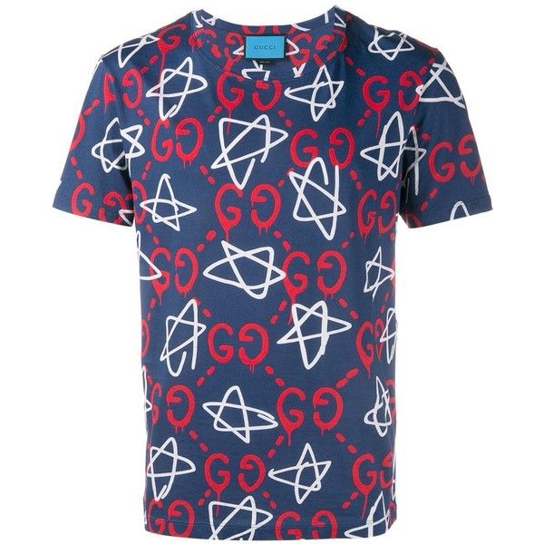 Gucci 'Ghost' star print t-shirt (1.700 BRL) ❤ liked on Polyvore featuring men's fashion, men's clothing, men's shirts, men's t-shirts, blue, mens star wars t shirts, mens blue t shirt, gucci mens t shirt, mens star shirt and gucci mens shirts