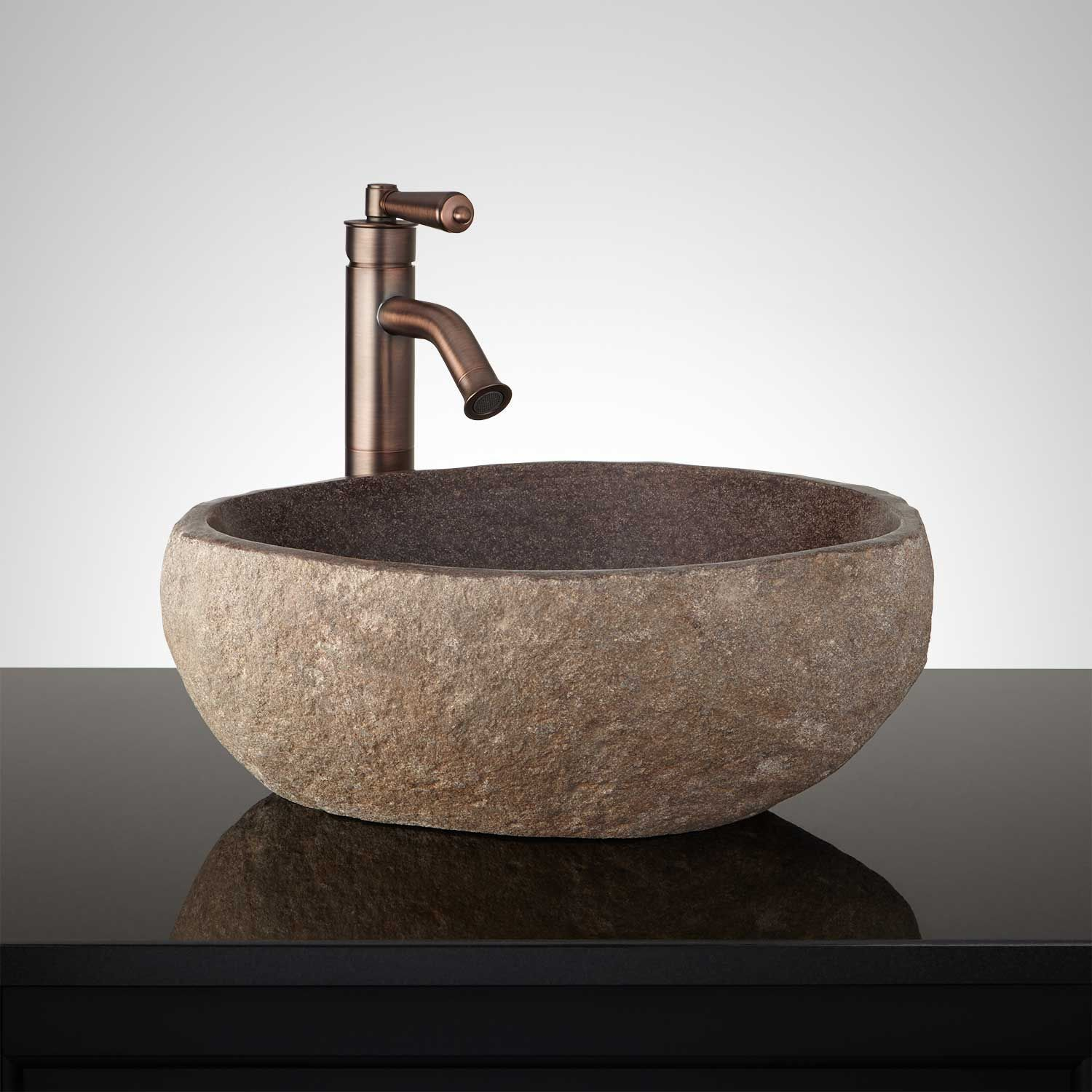 Winema Dark Gray River Stone Vessel Sink