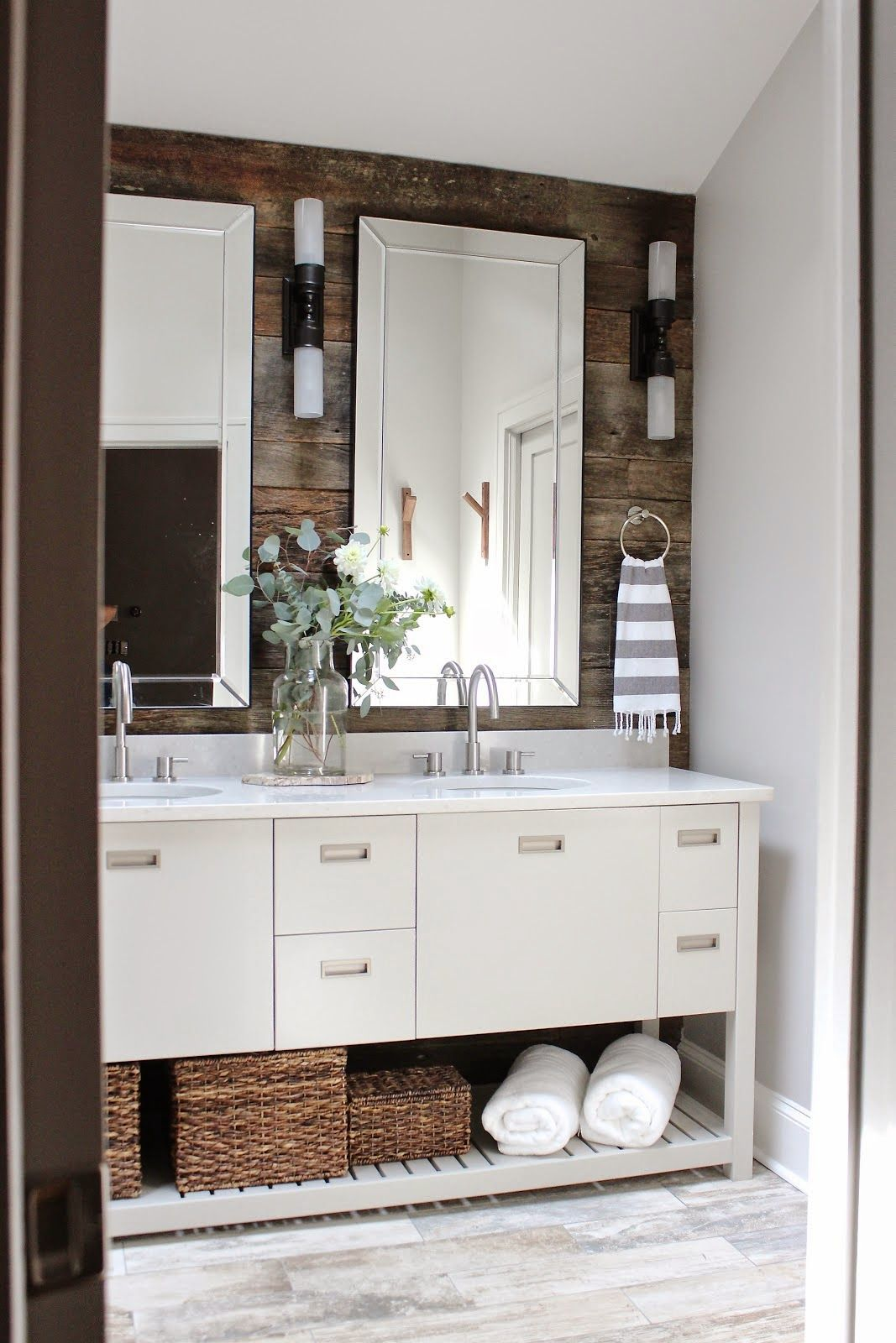 It S All About The Base Rustic Modern Bathroom Small Bathroom
