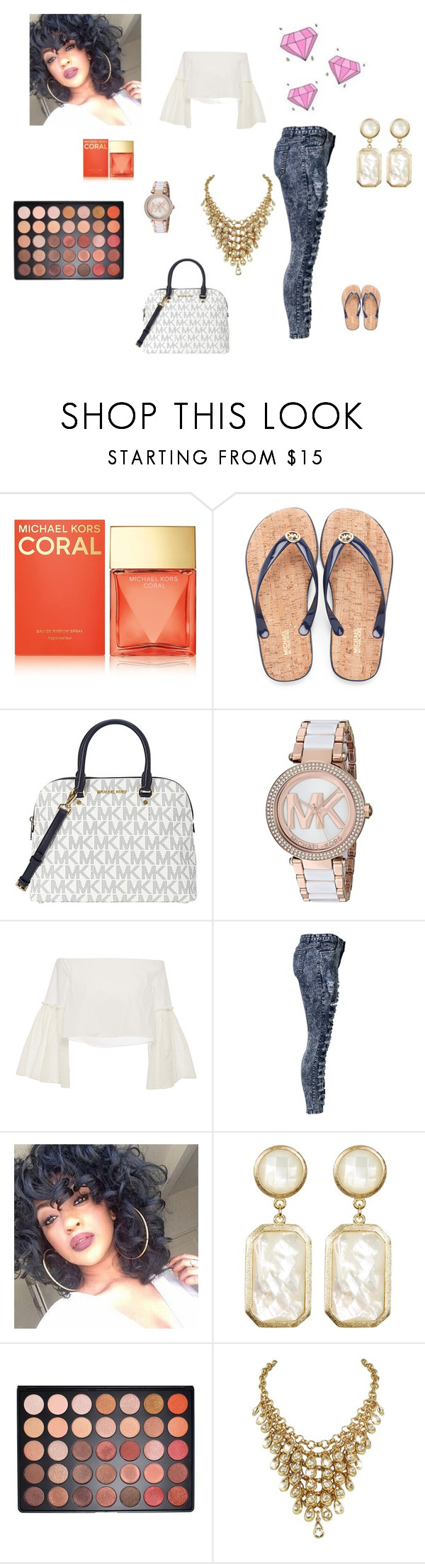 """Michael Kors"" by queenraina1 on Polyvore featuring Michael Kors, Rosetta Getty, Rivka Friedman and Morphe"