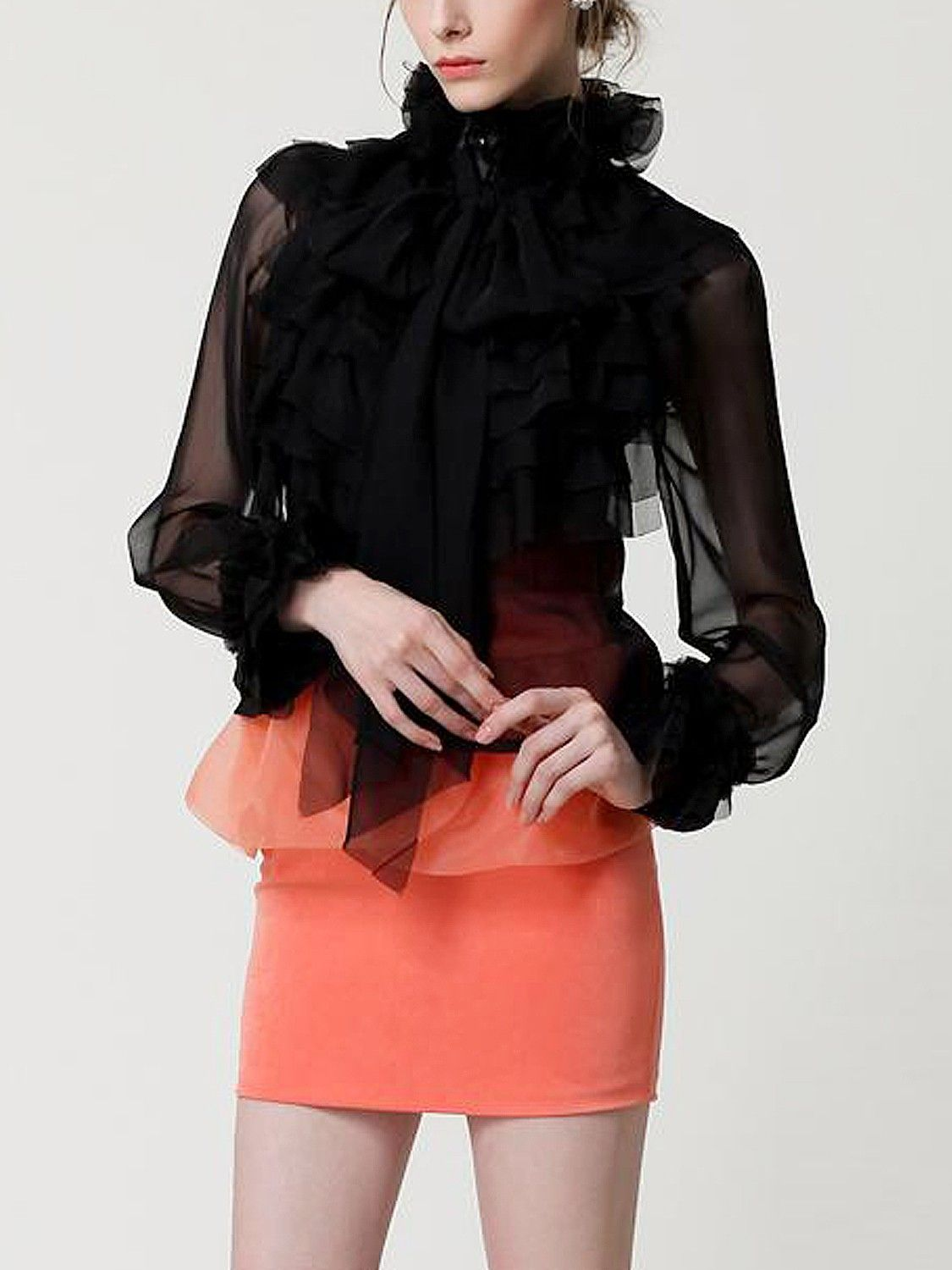 b1dd09f18033c Black Women Tops High Neck Bow Tie Front Layered Ruffle Sheer Clear ...