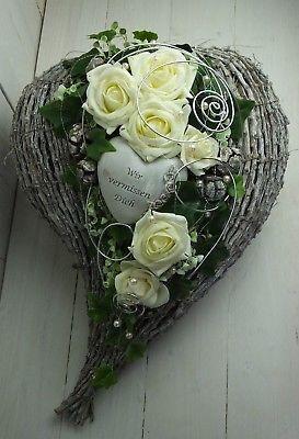 Grabgesteck, Allerheiligen, Gedenktag, Totensonntag, Herz, creme-weiß #grabbepflanzungherbst