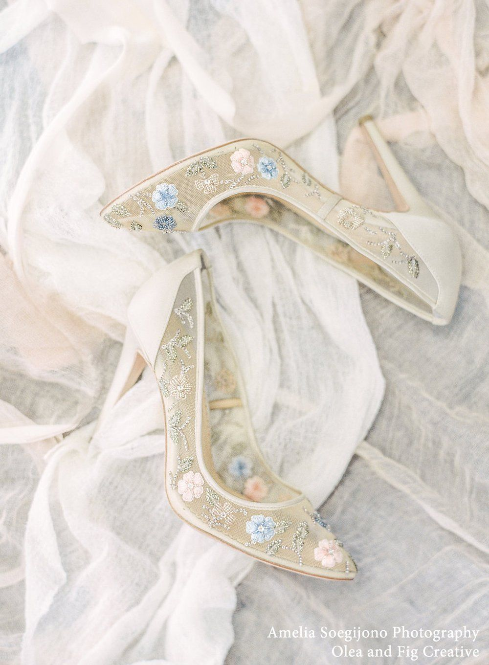 Flower Embellished Embroidered Wedding/Evening Heels