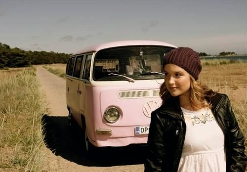 Kristiina Wheeler and a pale pink VW