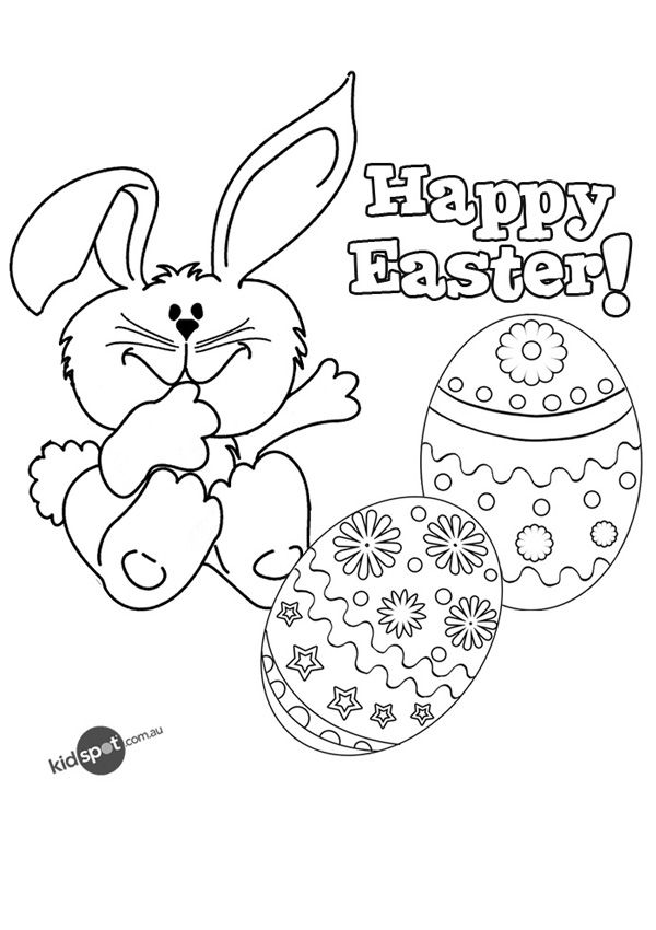 Happy Easter colouring page free to print KIDSPOT