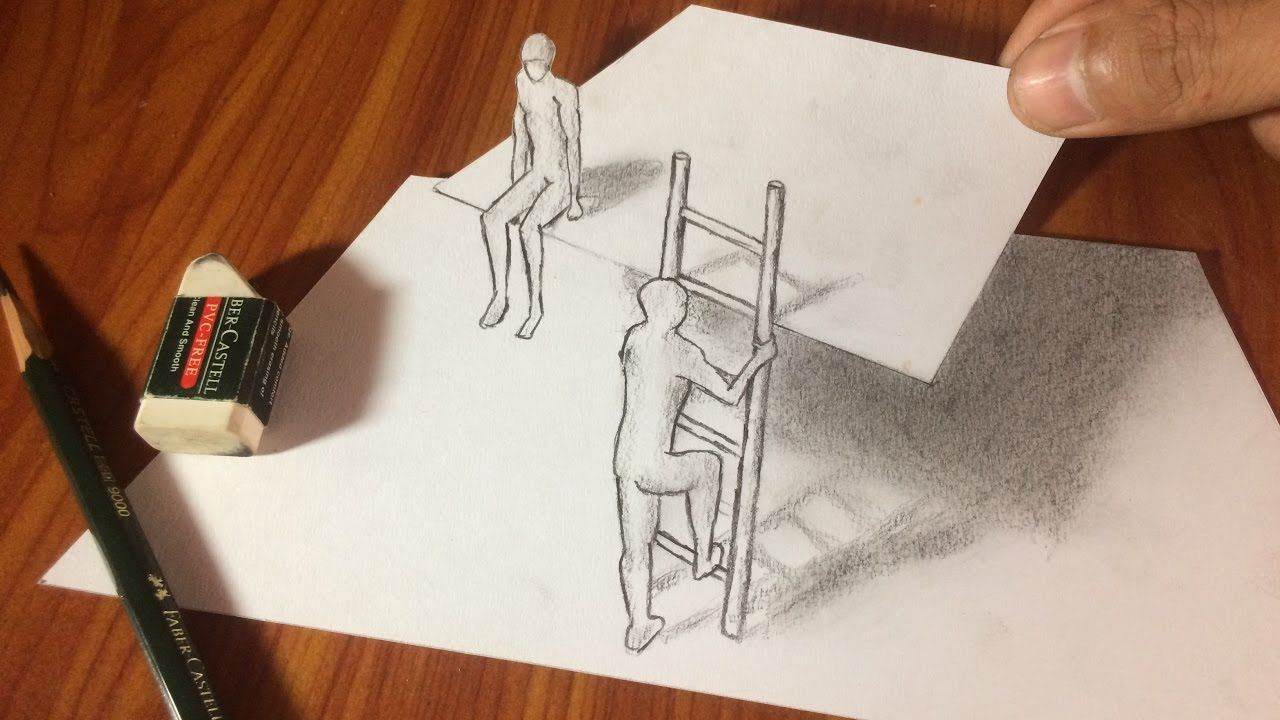 Trick art drawing 3d easy drawings pencil drawing for beginners time