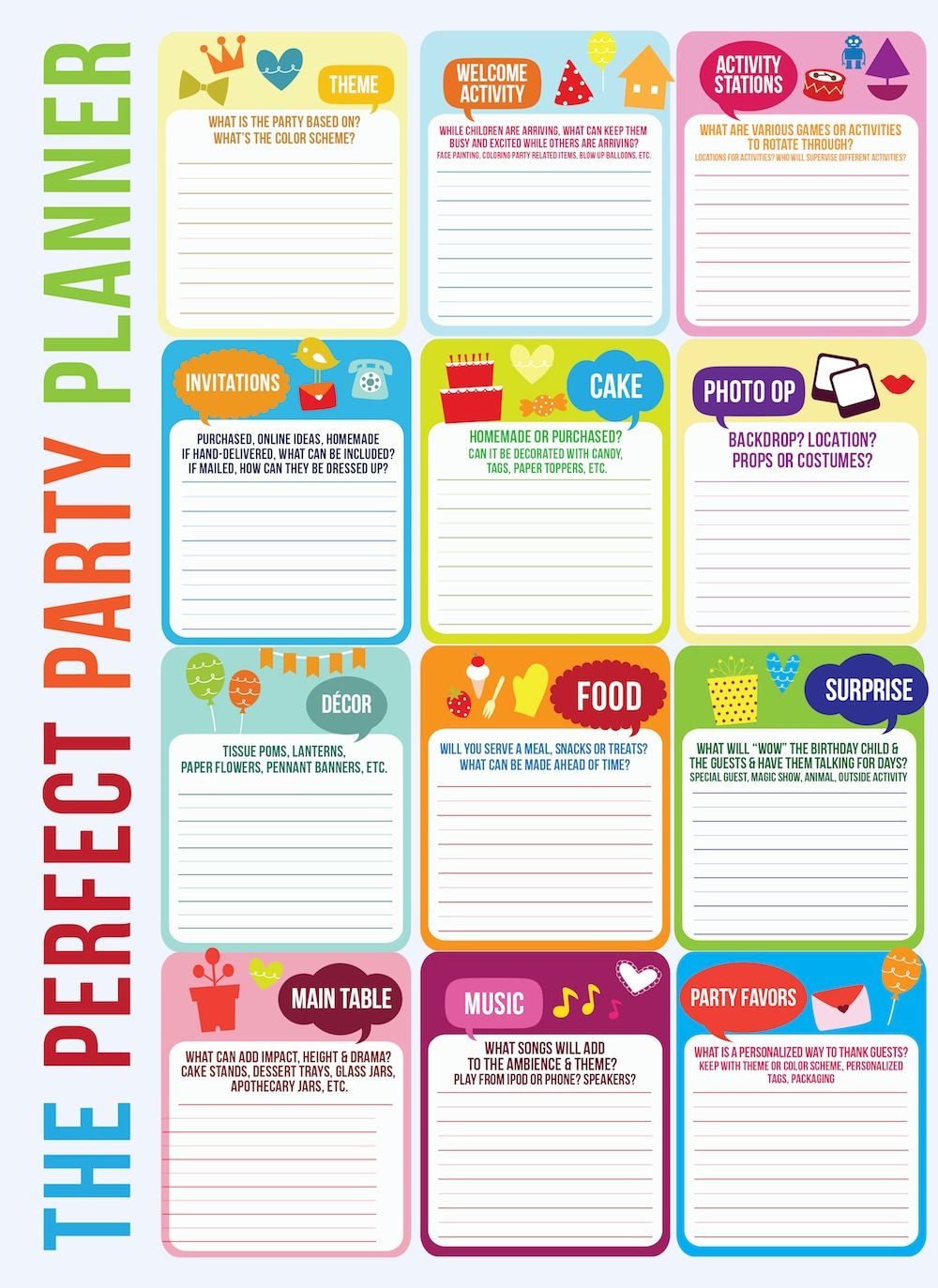 This is a picture of Tactueux Party Planner Printable