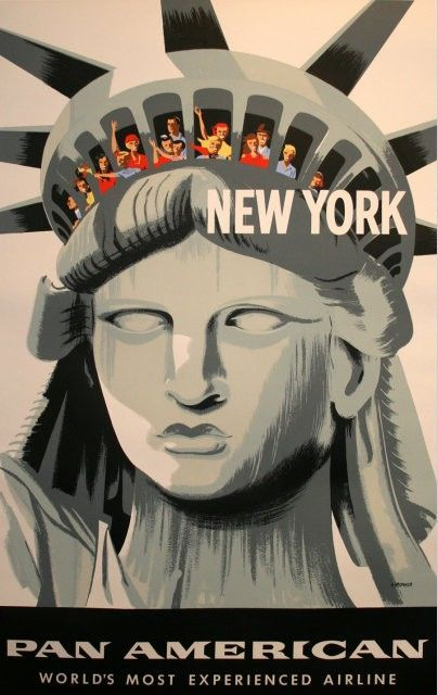 Fly Pan American to New York | Poster Design Retro USA
