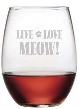 Live, Love, Meow Sure to bring a smile, these Live Love Meow stemless glasses make a great gift for the cat lover.