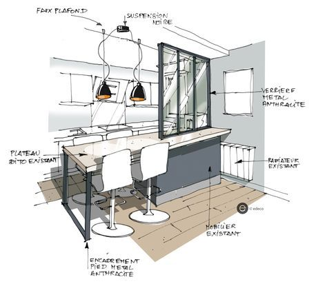 Croquis cuisine ouverte avec verrière et suspension métal Croquis