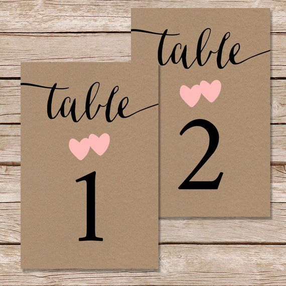 Peachy Printable Wedding Table Numbers 1 10 Kraft Paper Download Free Architecture Designs Rallybritishbridgeorg