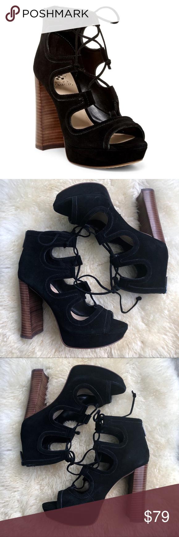 Vince Camuto Kamaye Ghillie Platform Sandals Black Flirty Ghillie Lacing Lace Up Corsets Up The Front Of This Black Sandals Platform Sandals Vince Camuto Shoes