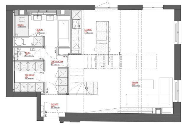 Loft Paris 10  du béton pour un intérieur lumineux House - plan de maison avec patio