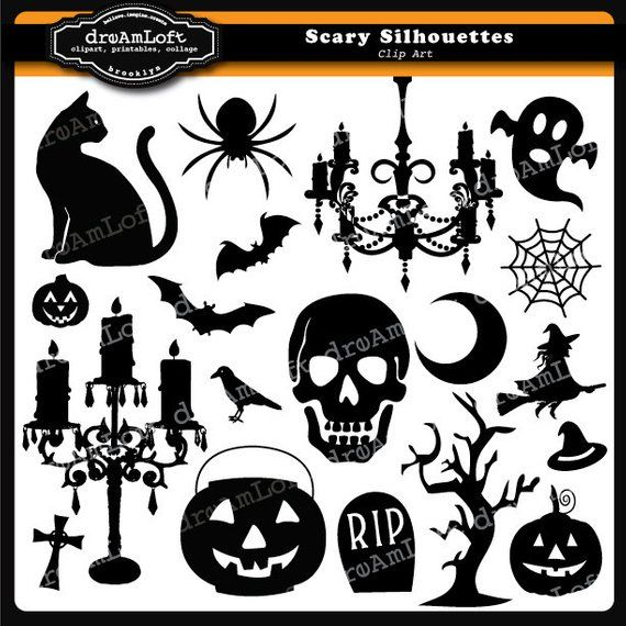Halloween Clip Art Scary Silhouettes