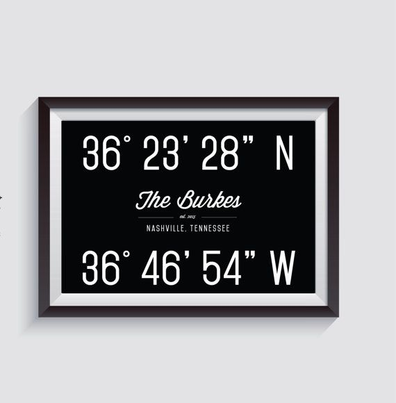 Personalized Home Coordinates by SaltyDogDesignCo on Etsy