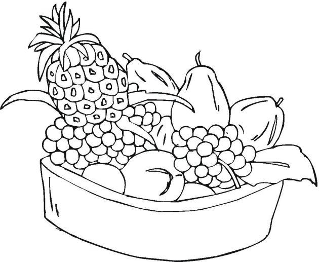 Basket Of Fruits Coloring Pages With Free Printable Fruit For Kids Pagesbasket