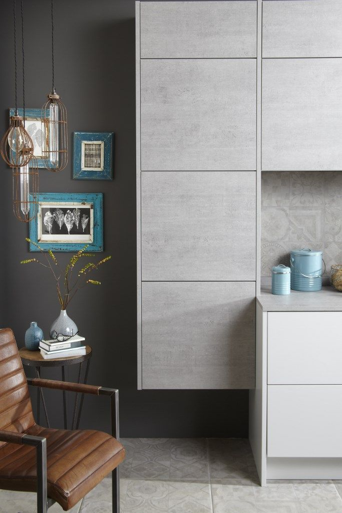 Burbidges Otto Kitchen In Concrete And Matt Light Grey Cupboards - Light grey cupboards