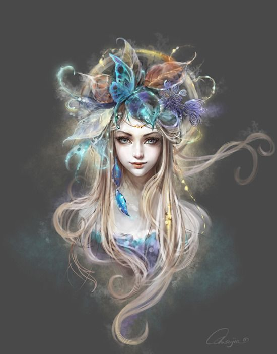 Moonlight fairy moonlight flower picture 2d fantasy for Beautiful drawings and paintings
