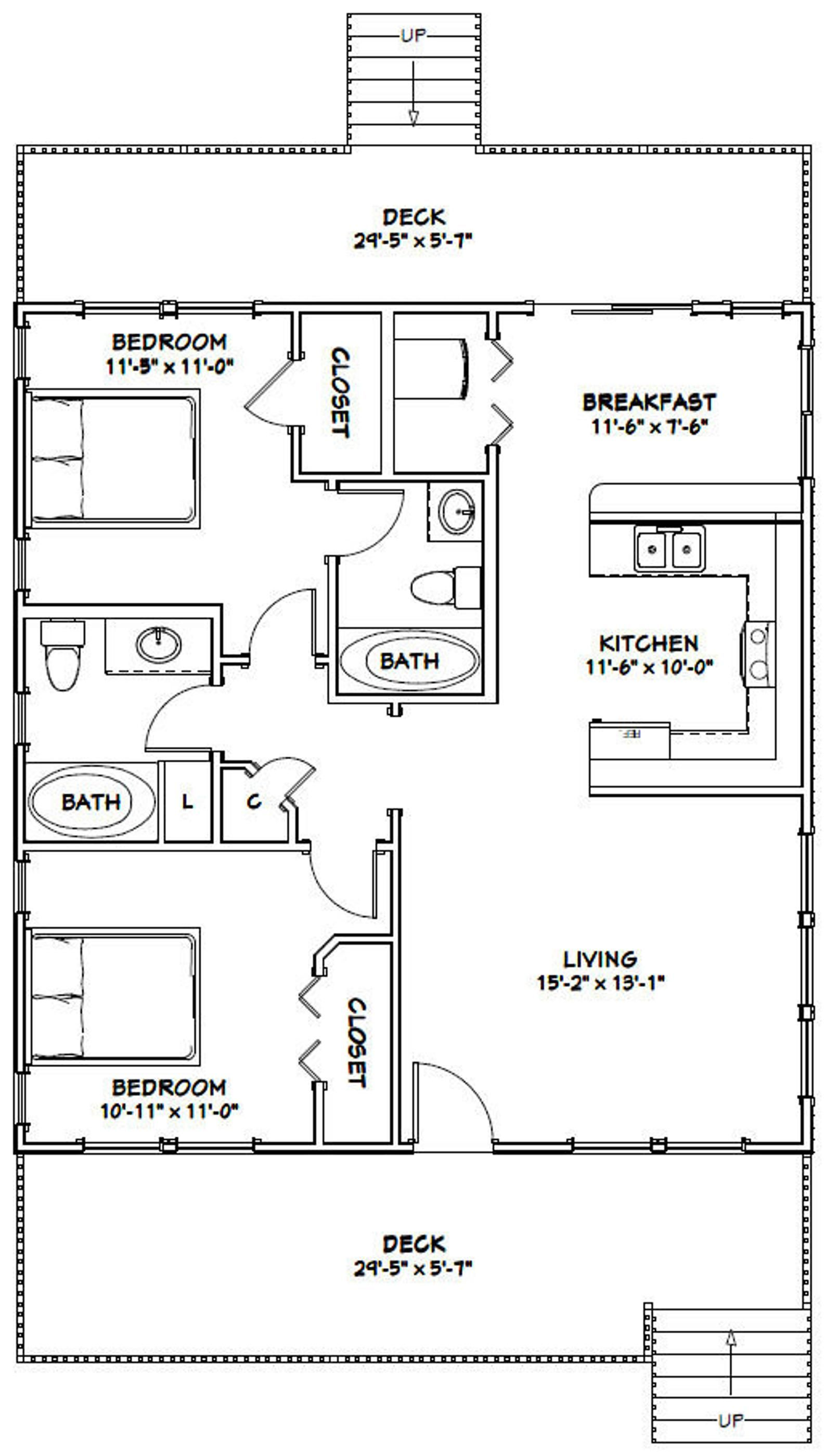 30x32 House 2 Bedroom 2 Bath 960 Sq Ft Pdf Floor Plan Etsy In 2020 Small House Floor Plans 1200 Sq Ft House Cabin Floor Plans