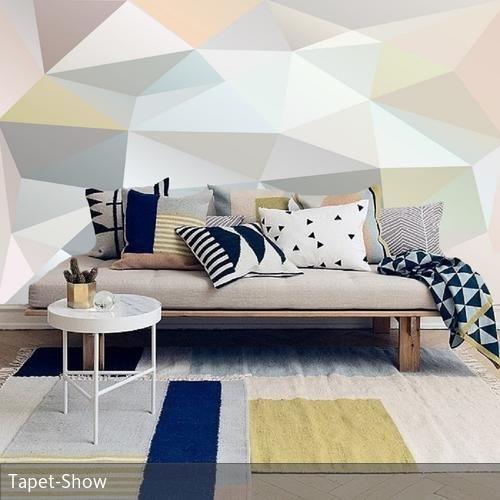 Fototapete Wohnzimmer couch, Bunte kissen und Fototapete - teppich wohnzimmer bunt