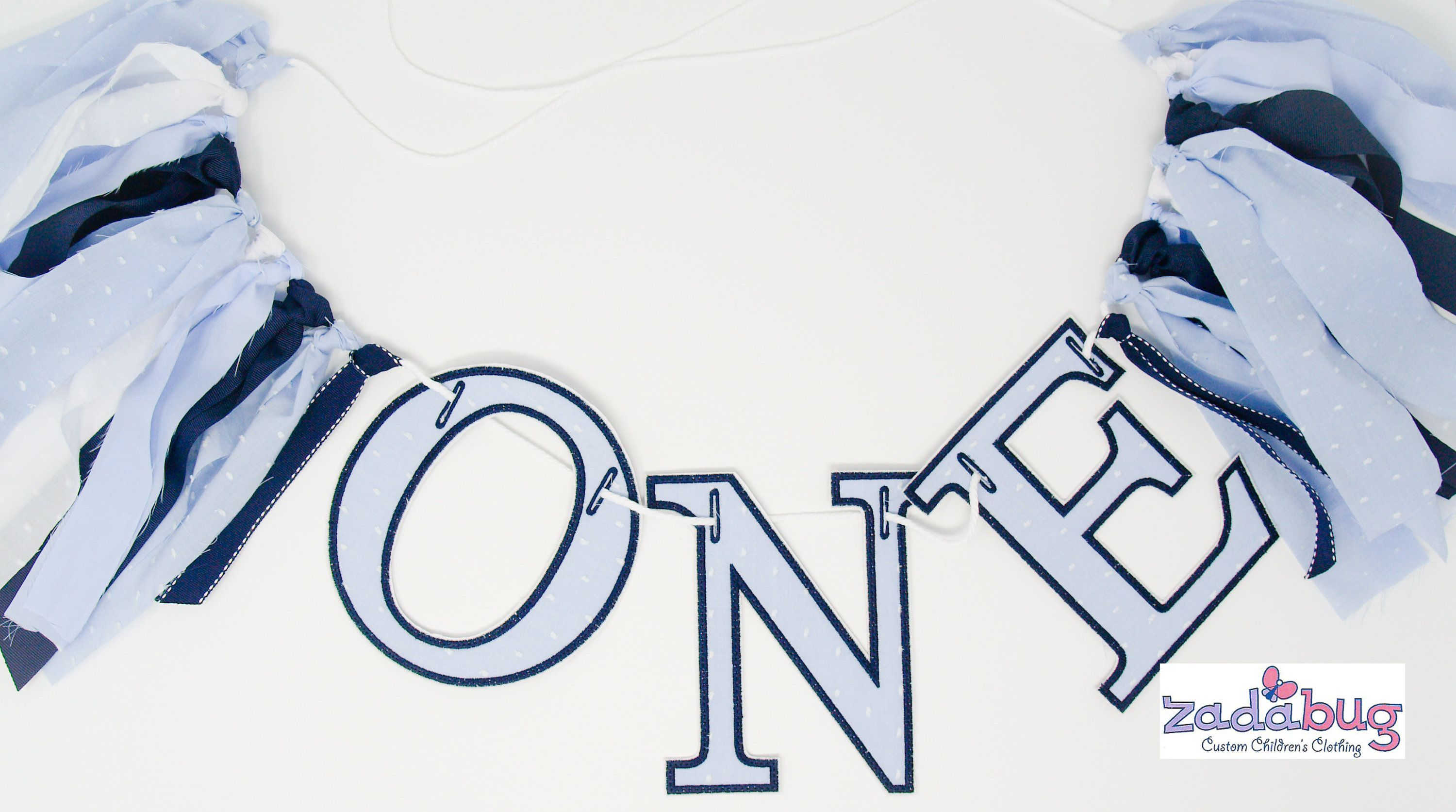 Personalized Embroider Applique Number One Highchair Banner-First Birthday Wall Banner-White Swiss Dot Banner-First Birthday Cake Topper