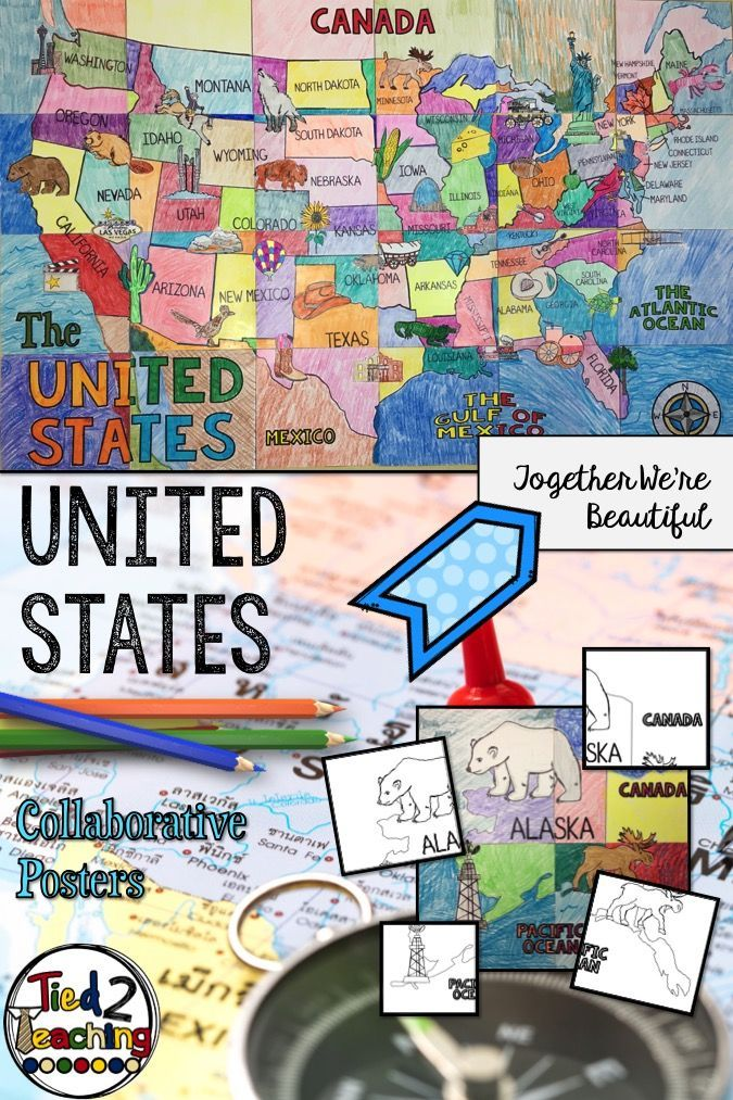 United states geography collaboration poster school programs this united sates collaborative poster makes a beautiful art activity for kids it includes all gumiabroncs Image collections