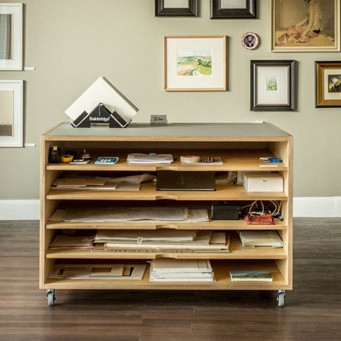 Combination of bookshelf and office storage made from Birch plywood   Plywood and solid timber furniture