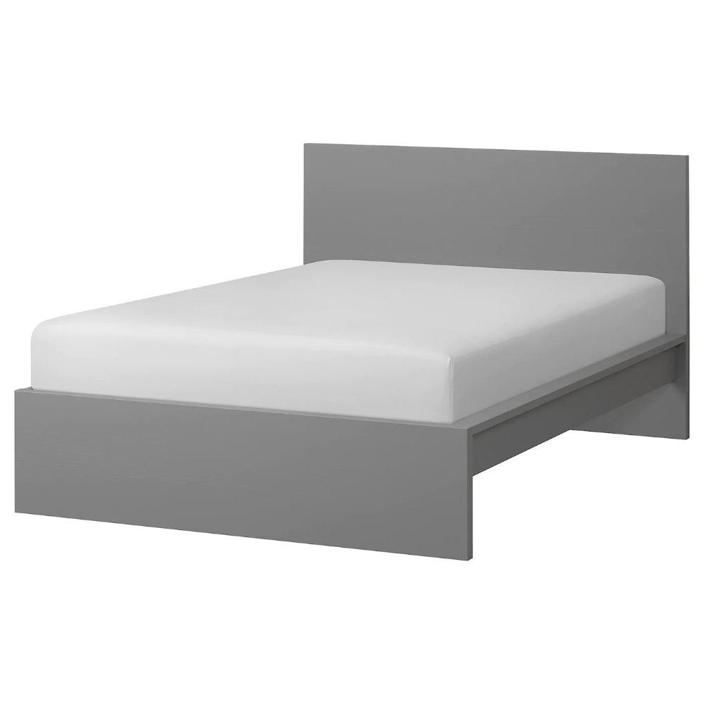 Malm Bed Frame High Gray Stained Full Ikea In 2020 Malm Bed