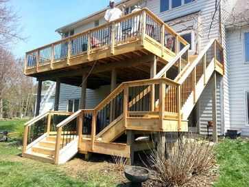 Ideas For Deck Design create a safe but open wood deck design using a multi level plan with rails Two Story Decks With Stairs Stair Layout Design Ideas Pictures Remodel And