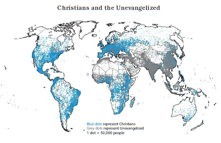 A Map Displaying The Christian Population Of The World Be A - Christian population