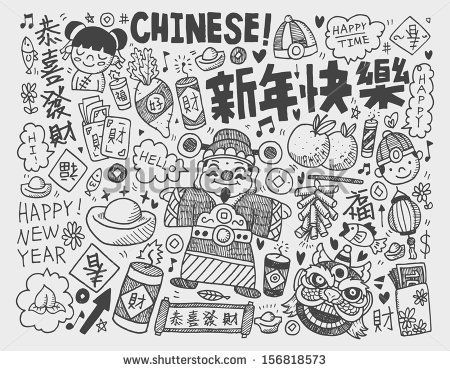 doodle chinese new year backgroundchinese word happy new year congratulation spring blessing by notkoo via shutterstock