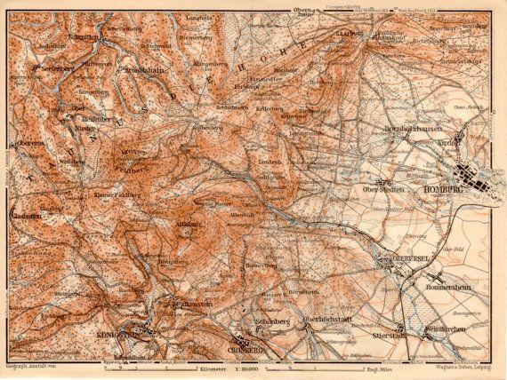 Bad Homburg Germany Map.1909 Bad Homburg Germany Taunus Konigstein Hesse Wiesbaden