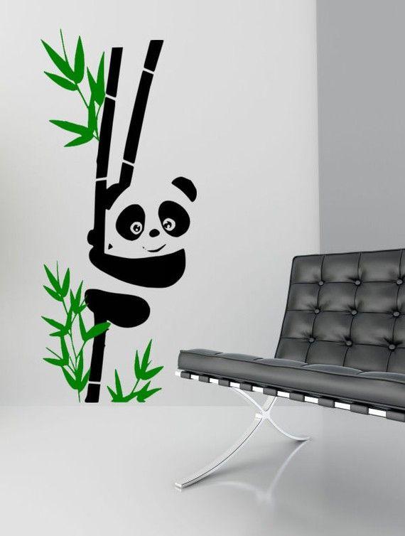 Panda Bear Graphic Vinyl Wall Decal Art - 2 Color